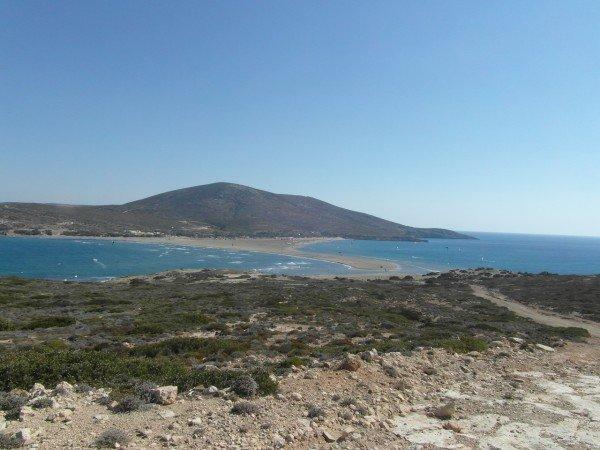 Polibek dvou moří - Prasonisi - jižní cíp ostrova