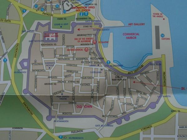 Plán starého města Rhodos